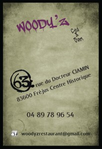 Woody'Z Burger Bar - Fréjus Centre - Carte de visite
